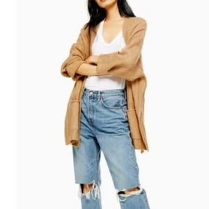 TOPSHOP Long Ribbed Open Front Cardigan Camel NWT